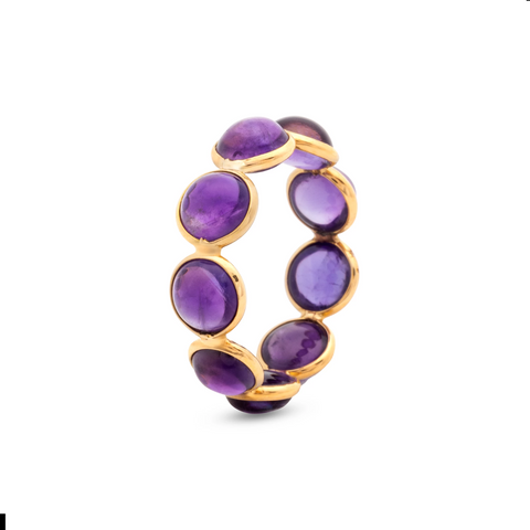 Gemstone Round Stackable Ring Band In 18k Yellow Gold
