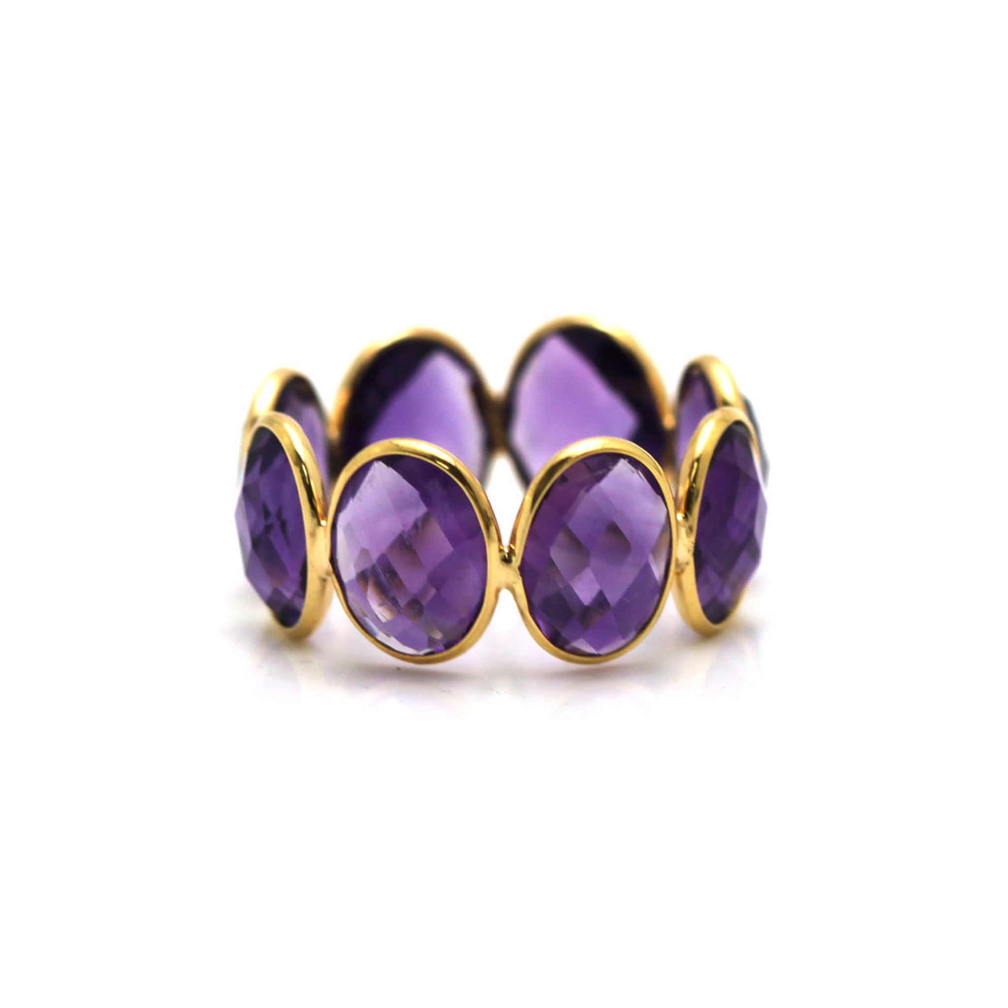 Amethyst Oval Stackable Ring Bands In 18k Yellow Gold