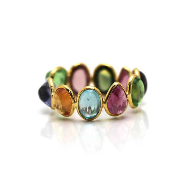 Multicolor Tourmaline Stackable Ring Band in 18K Yellow Gold