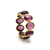 Rhodolite Round Stackable Ring Band in 18K Yellow Gold