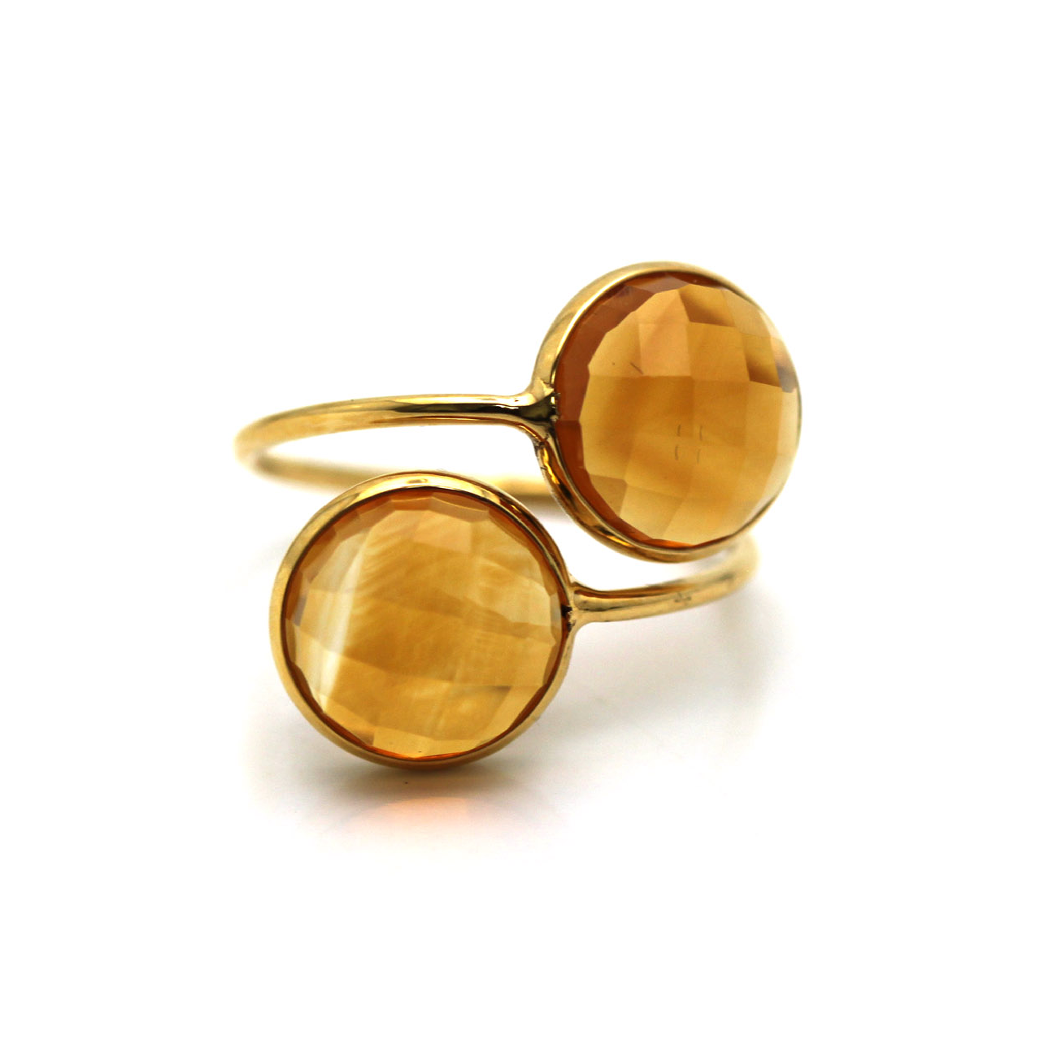 Citrine Facted Round Ring in 18K Yellow Gold
