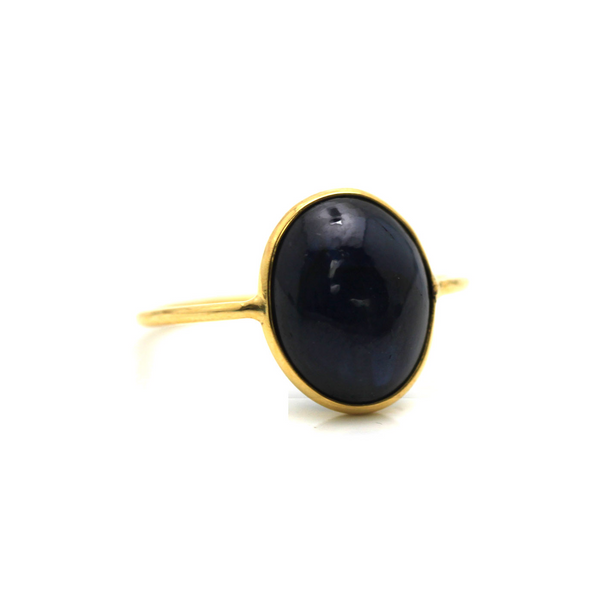 Blue Sapphire Ring Oval in 18K Yellow Gold