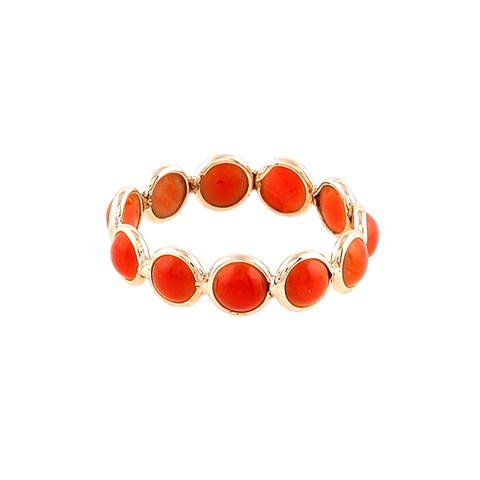 Coral Eternity Ring Band in 18k Yellow Gold
