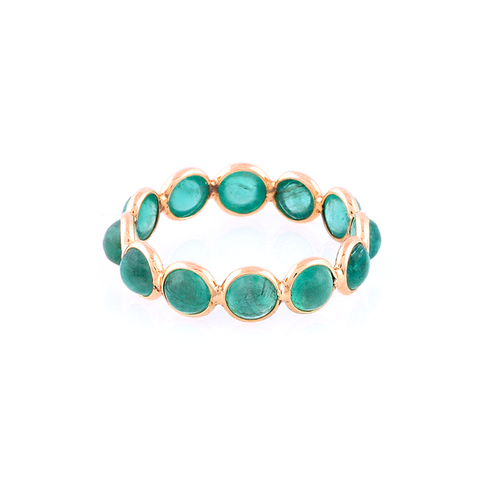 Emerald Eternity Stackable Ring in 18k YG - 4mm