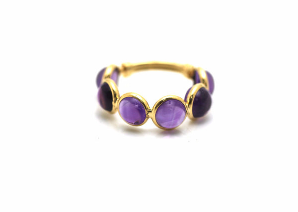 Amethyst Smooth Round Ring With Adjustable Shank in 18k Yellow Gold