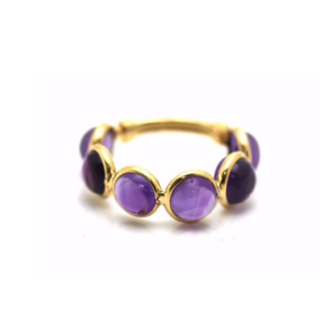 Gemstone Smooth Round Ring With Adjustable Shank in 18k Yellow Gold