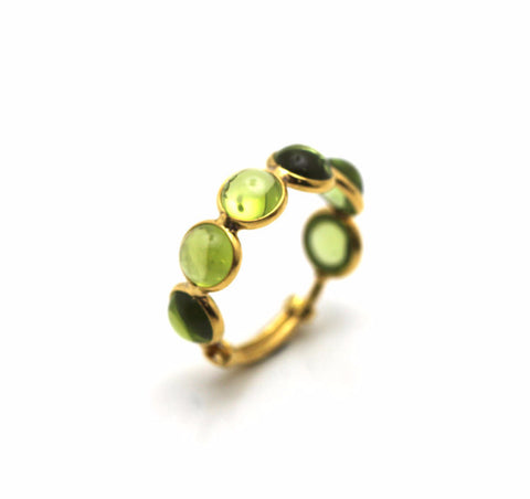 Peridot Smooth Round Ring With Adjustable Shank in 18k Yellow Gold