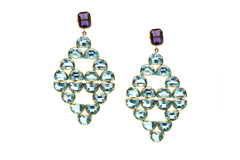 Amethyst and Sky Blue Topaz Earrings in 18k YG