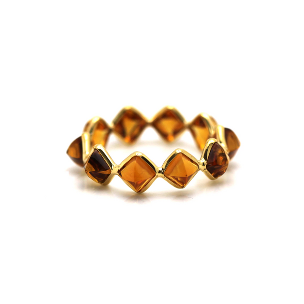Citrine Square Ring Band in 18K Yellow Gold