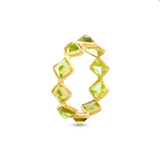 Gemstone Eternity Square Ring Band in 18k Yellow Gold