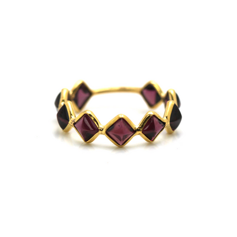 Rhodolite Square Ring Band in 18K Yellow Gold
