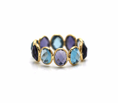 Iolite & London Blue Topaz Oval Ring Band in 18k Yellow Gold