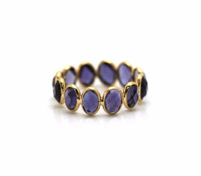 Iolite Faceted Oval Ring Band in 18k Yellow Gold