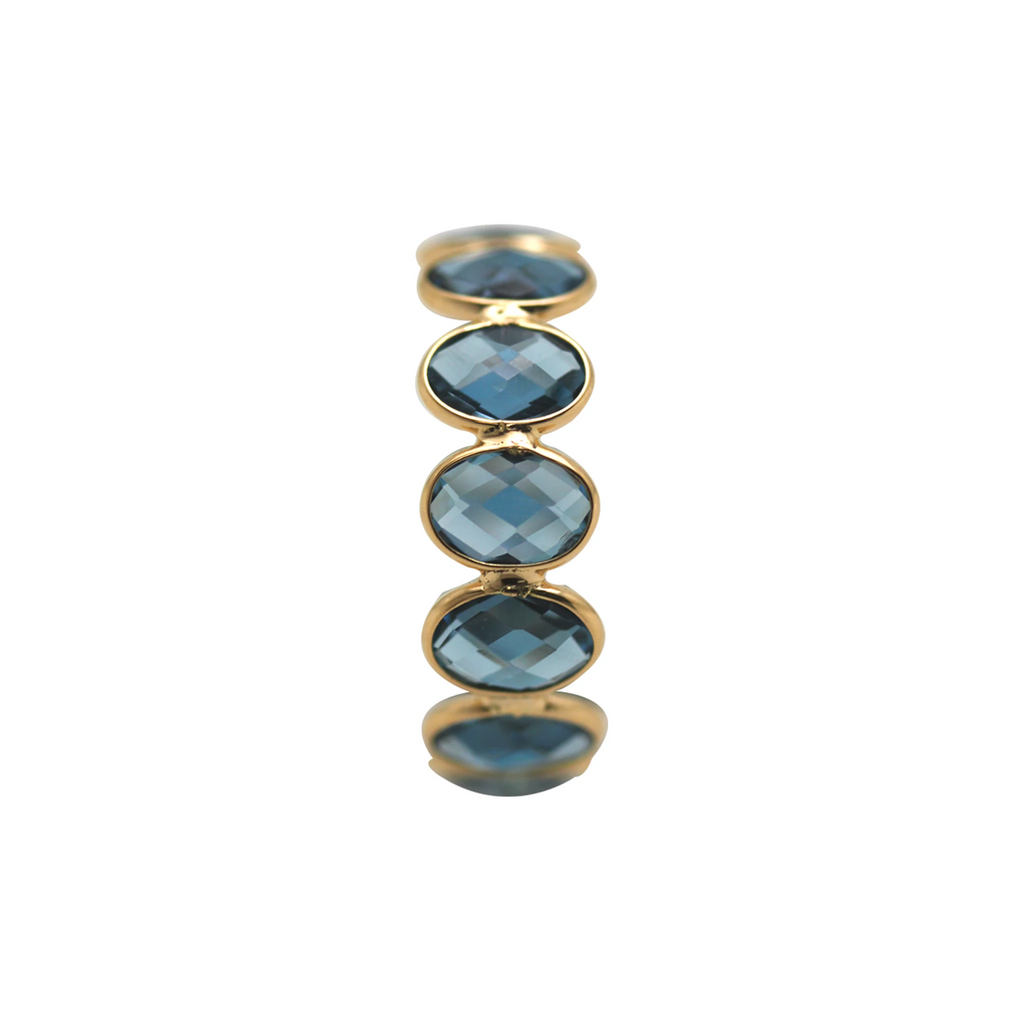 Gemstone Faceted Oval Stackable Ring Band in 18k Yellow Gold