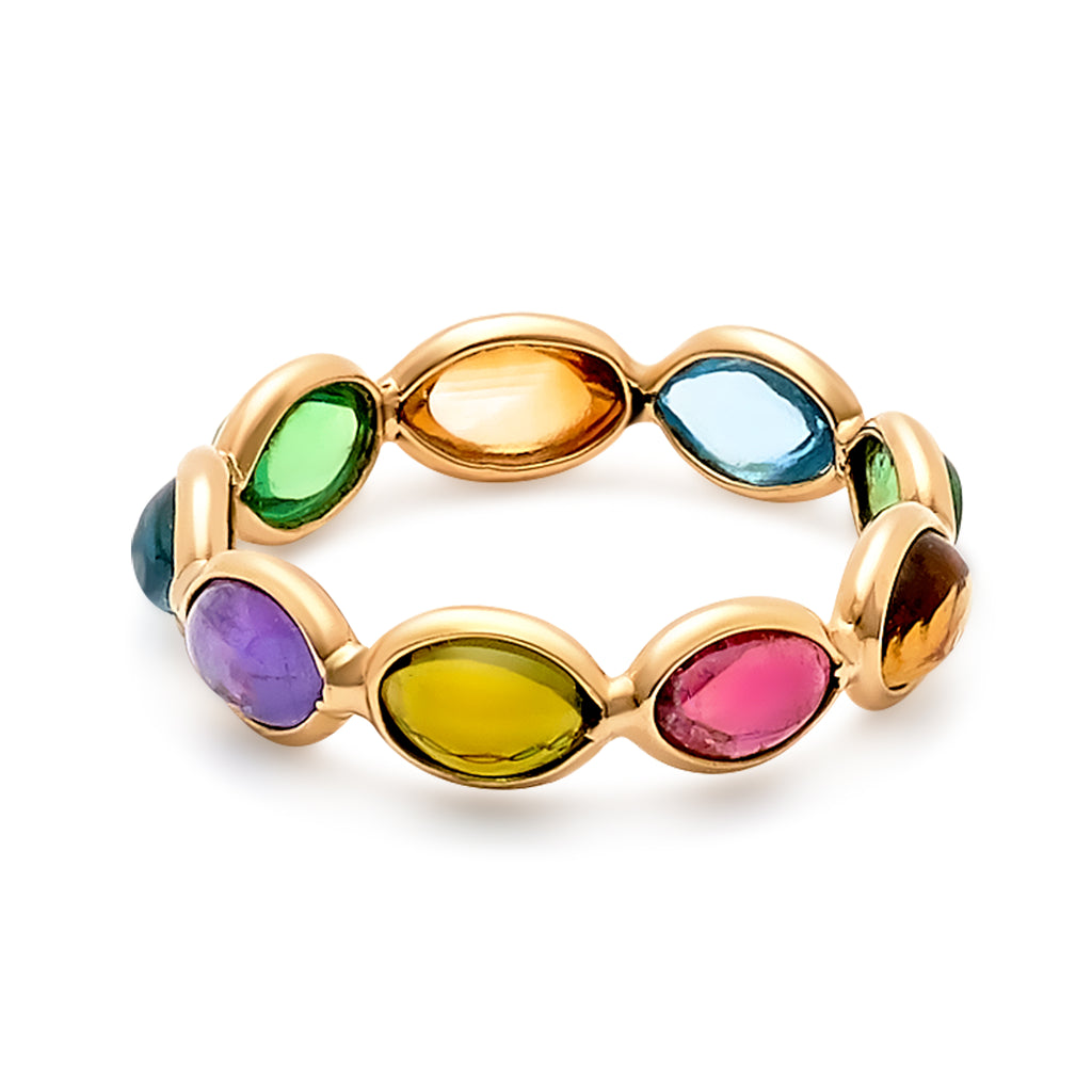 Multicolor Stones Marquise Ring Band In 18k Yellow Gold