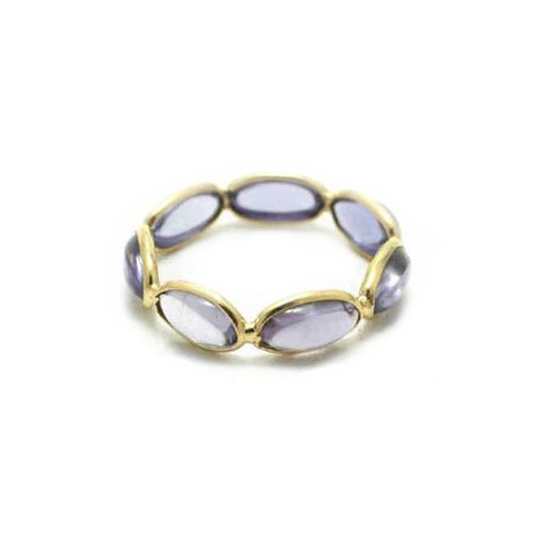 Iolite Smooth Oval Ring In 18K Yellow Gold