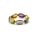 Multicolor Stones Smooth Oval Ring in 18k Yellow Gold