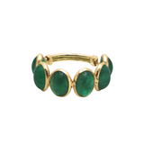 Emerald Oval Stackable Ring Bands With Adjustable Shank In 18K Yellow Gold
