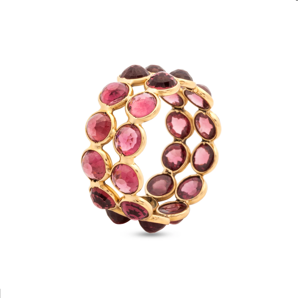 Rhodolite Double Row Ring Band In 18K Yellow Gold