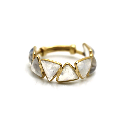 Rainbow Moonstone Tringle Adjustable Ring in 18k Yellow Gold