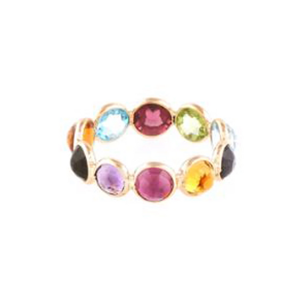 Multicolor Gesmtone Round Rose Cut Ring in 18K Yellow Gold