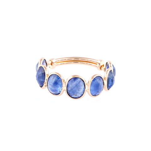 Blue Sapphhire Oval. Ring in 18K YG