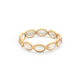 Rainbow Moonstone Oval Ring Band In 18K Yellow Gold