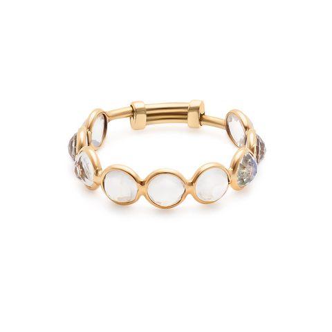 Gemstone Round Faceted Stackable Ring with Adjustable Shank in 18k Yellow Gold