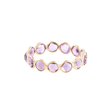 Amethyst Faceted Round  Ring Band in 18k Yellow Gold