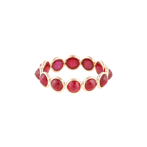 Ruby Faceted Round Ring Band in 18k YG