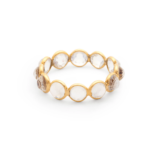 Gemstone Faceted Round Ring Band in 18k Yellow Gold