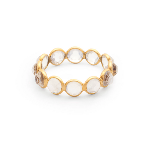 Rainbow Moonstone Faceted Round Ring Band in 18k Yellow Gold