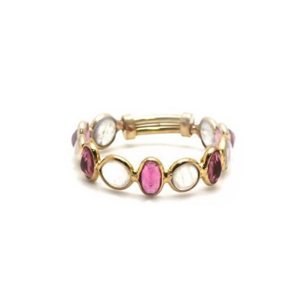 Pink Tourmaline & Rainbow Moonstone Ring Band in 18k Yellow Gold