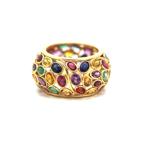 Multicolor Spinal, Multicolor Tourmaline, Emerald, Ruby & Sapphire Ring in 18k Yellow Gold