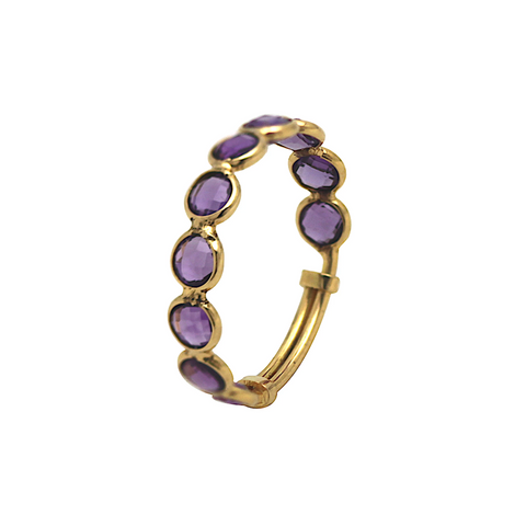 Iolite Ring Band with adjustable shank In 18K Yellow Gold