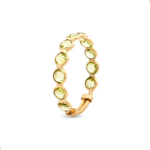 Gemstone Faceted Round Ring with Adjustable Shank in 18k Yellow Gold