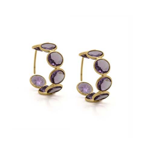 18k Yellow Gold Large Hoop Earrings in Amethyst