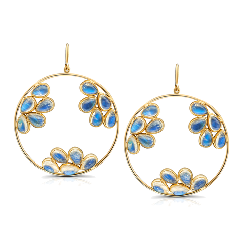 Rainbow Moonstone Round Dangle Earring in 18k Yellow Gold