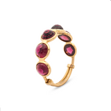 Gemstone Round Rose Cut Stackable Ring in 18k Yellow Gold