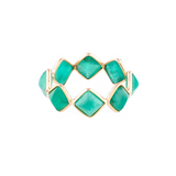 Gemstone Square Ring Band in 18k Yellow Gold