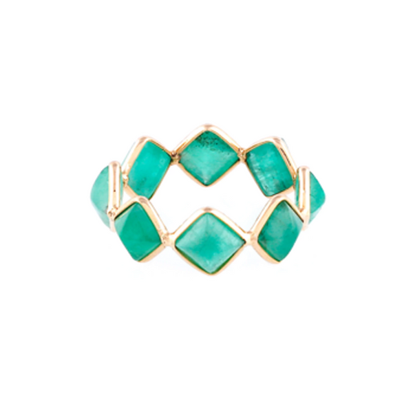 Emerald Square Ring Band in 18k YG
