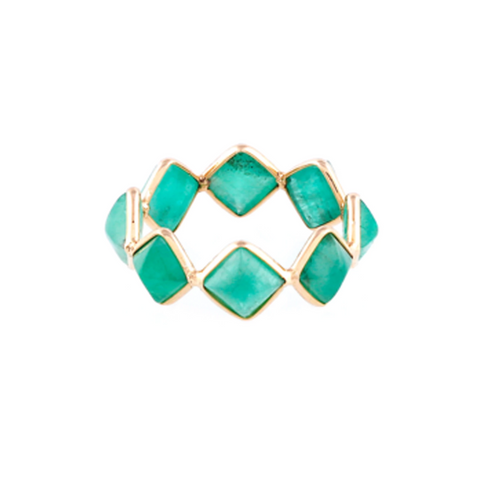 Emerald Square Ring Band in 18k Yellow Gold