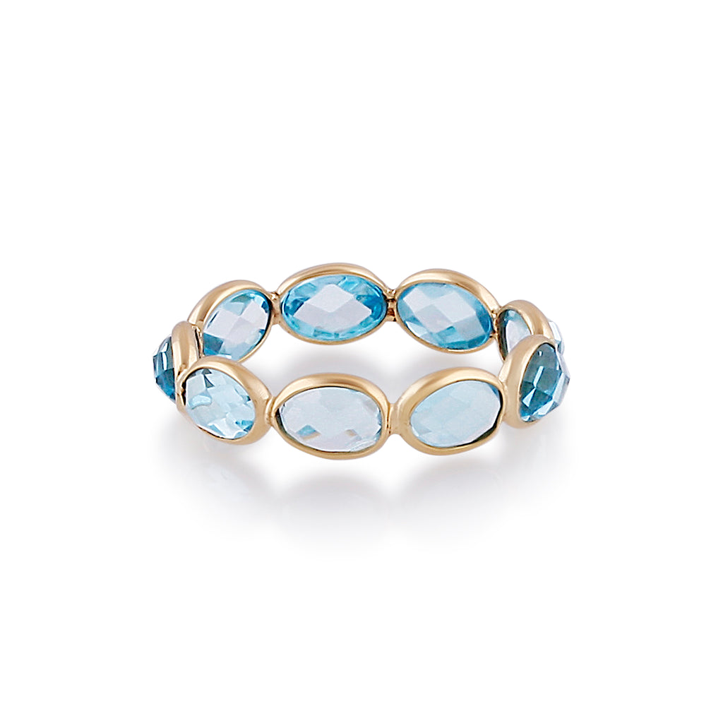 Blue Topaz Oval Ring Band in 18K Yellow Gold