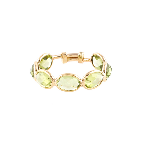 Gemstone Faceted Oval Ring Band in 18K Yellow Gold