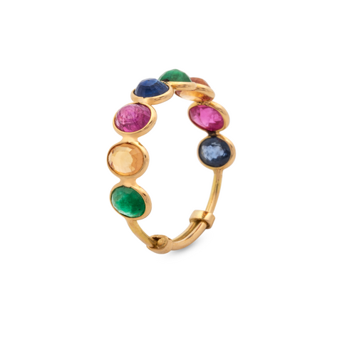 Emerald, Ruby & Sapphire Round Rose Cut Ring Band in 18K Yellow Gold