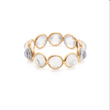Gemstone Round Rose Cut Ring Band in 18k Yellow Gold