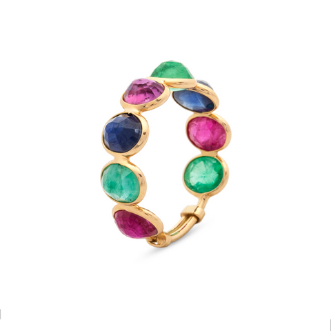 Emerald, Ruby & Sapphire Rose Cut Top Stackable Ring in 18K Yellow Gold
