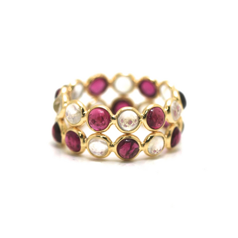 Rainbow Moonstone & Pink Tourmaline  Double Row Ring Band in 18K Yellow Gold