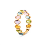 Multicolor Stones Oval Ring Band in 18k Yellow Gold