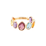 Multicolor Stone Fac. Oval Ring Band in 18k YG